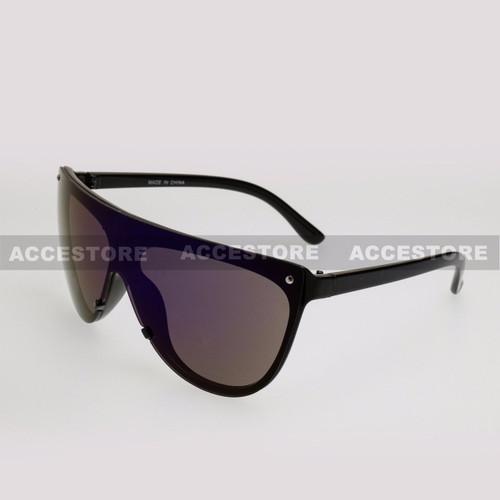 Wrap Shape Fashion Mirror Lens Sunglasses 89045RV - Black Frame Green Lens