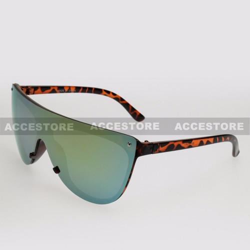 Wrap Shape Fashion Mirror Lens Sunglasses 89045RV - Tortoise Frame Yellow Lens