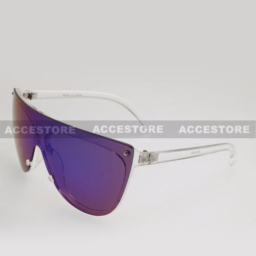 Wrap Shape Fashion Mirror Lens Sunglasses 89045RV - Clear Frame Green Lens