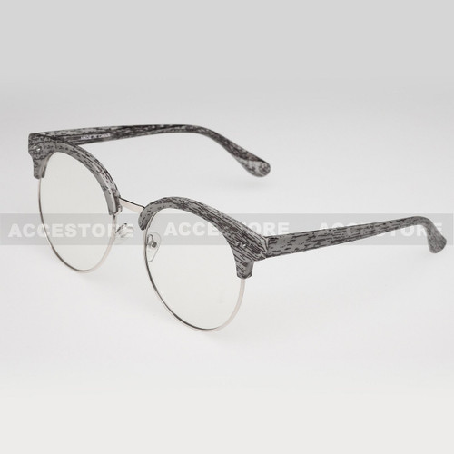 Clubmaster Round  Shape Designer Clear Lens Glasses 89012CLR - Gray