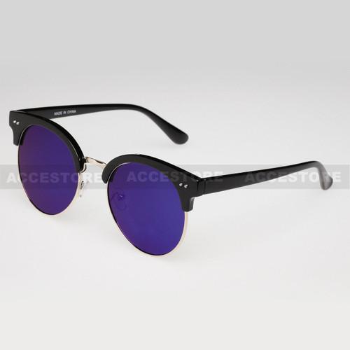 Clubmaster Round  Shape Fashion Mirror Lens Sunglasses 80620RV - Blue