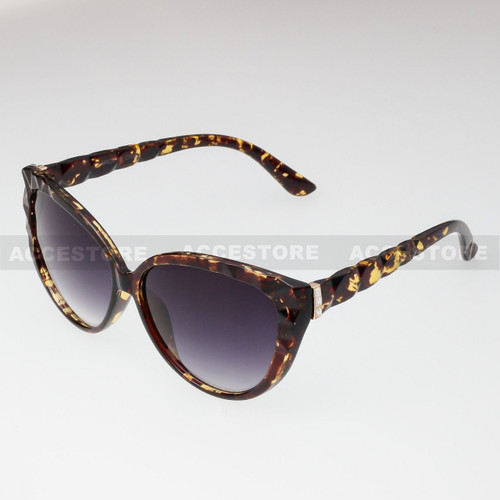 Cat Eye  Shape Rhinestone Fashion Sunglasses 80579RS - Tortoise