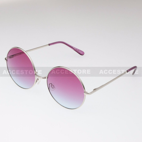 Round Shape Classic Color Lens Sunglasses 689C - Purple
