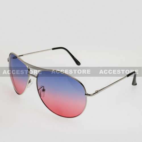 Aviator Shape Summer Ocean Color Sunglasses 5303C - Blue Red