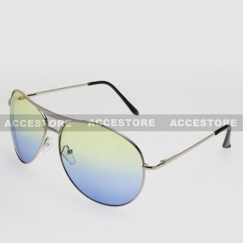 Aviator Shape Summer Ocean Color Sunglasses 5303C - Green Blue