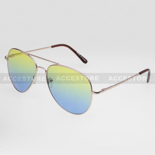 Aviator Shape Summer Ocean Color Sunglasses 52015MHC - Green Blue