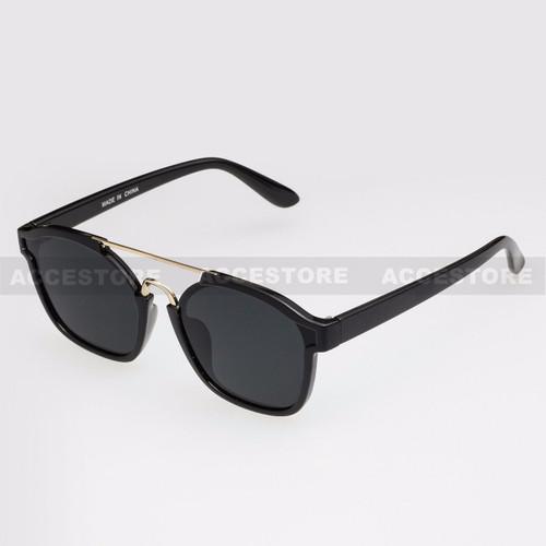 Clubmaster  Shape Retro Designer Sunglasses 96004 - Black Gold