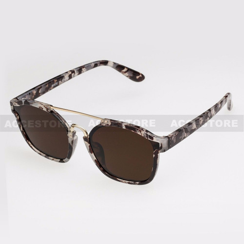 Clubmaster  Shape Retro Designer Sunglasses 96004 - Marble Gold