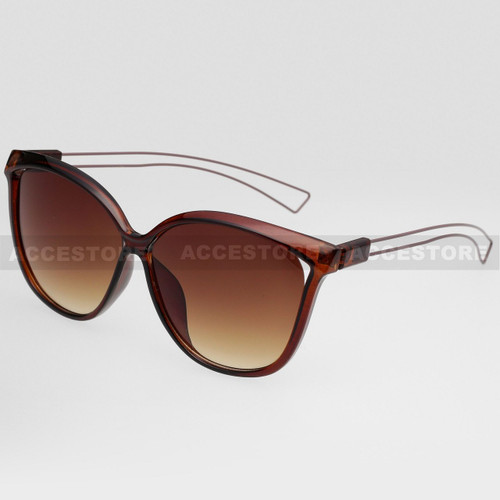 Cat Eye  Shape Fashion Wire Arm Sunglasses 89026 - Brown