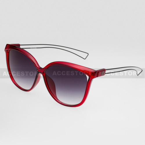 Cat Eye  Shape Fashion Wire Arm Sunglasses 89026 - Red