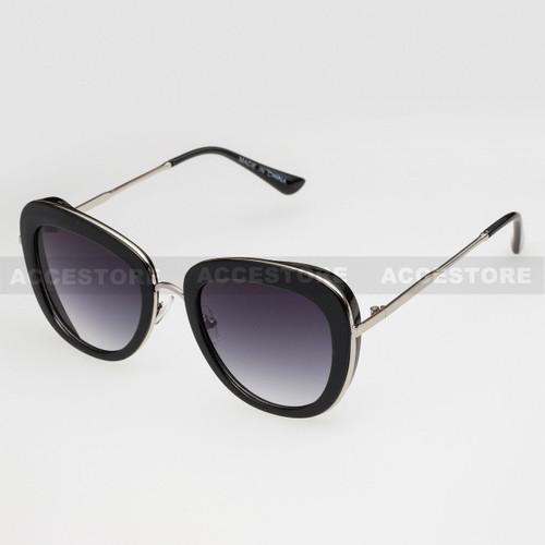 Oval Shape Fashion Color Frame Sunglasses 89020 - Black