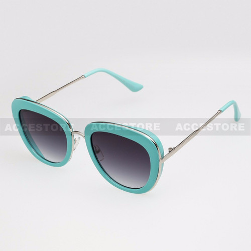Oval Shape Fashion Color Frame Sunglasses 89020 - Blue