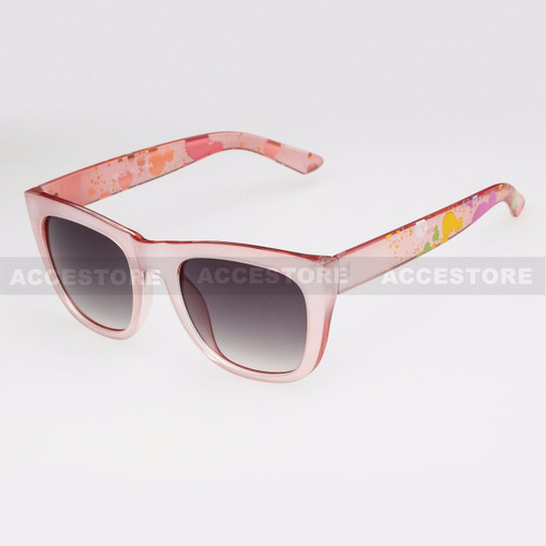 Classic Shape Abstract Graphic Arm Sunglasses 80656 - Red