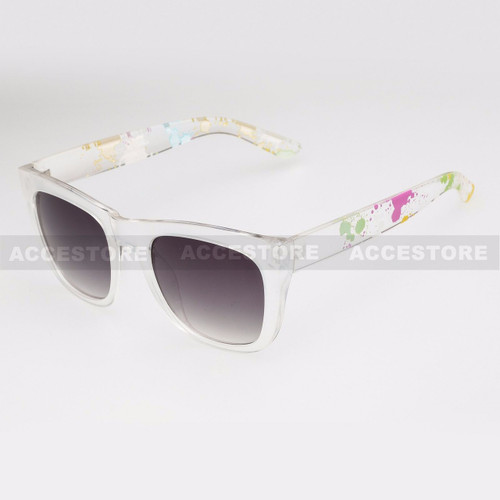 Classic Shape Abstract Graphic Arm Sunglasses 80656 - White
