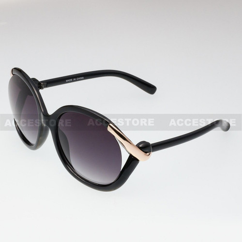 Butterfly Shape Fashion Designer Sunglasses 80632 - Black Gold