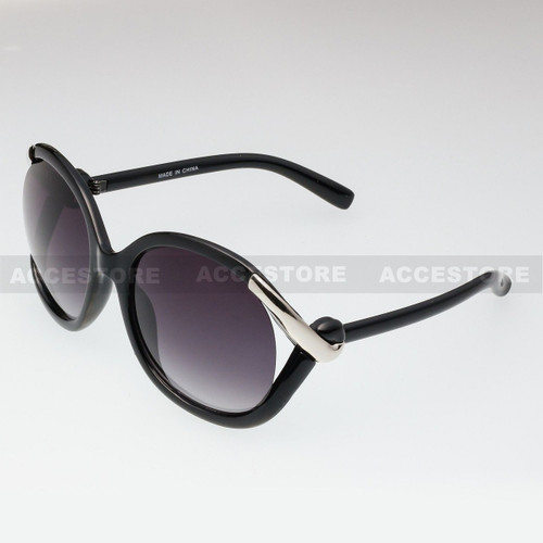 Butterfly Shape Fashion Designer Sunglasses 80632 - Black Silver