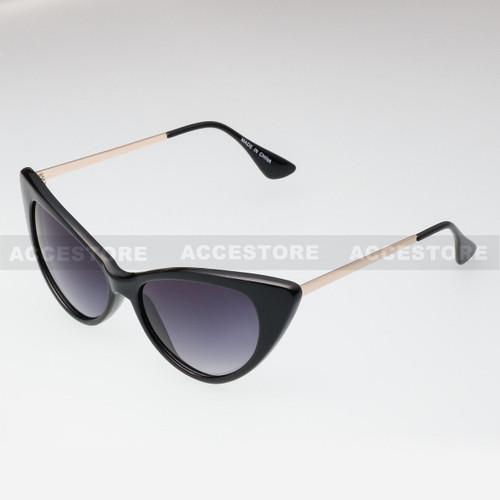Cat Eye  Shape Retro Fashion Sunglasses 80582 - Black Gold
