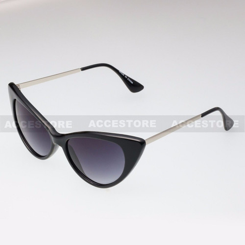 Cat Eye  Shape Retro Fashion Sunglasses 80582 - Black Silver