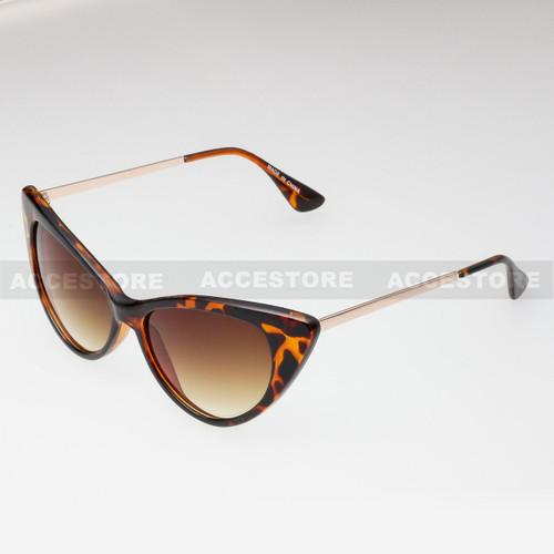 Cat Eye  Shape Retro Fashion Sunglasses 80582 - Brown Gold