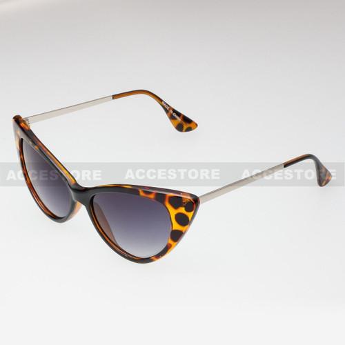 Cat Eye  Shape Retro Fashion Sunglasses 80582 - Brown Silver