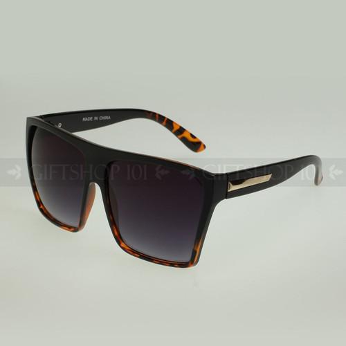 Square Shape Oversize Retro Fashion Sunglasses 80331 - Black Tortoise