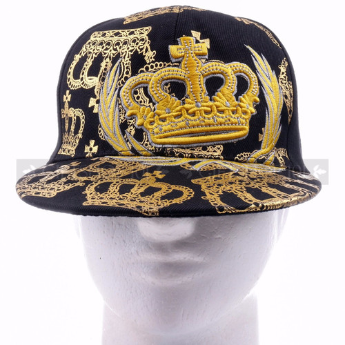 Fitted Caps Hat 8193 Black - Gold Crown <Front>