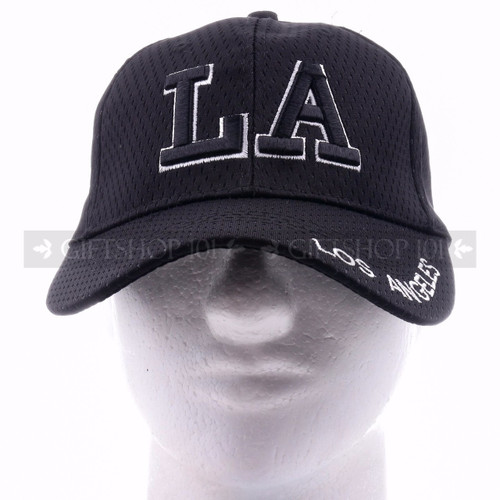 Breathable Baseball Caps Hat 9630 Black - Los Angeles <Front>