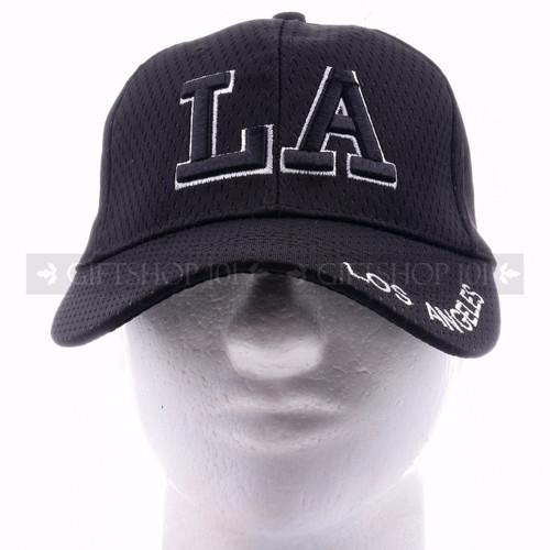 Breathable Baseball Caps Hat 9630 Black - Los Angeles <Front>