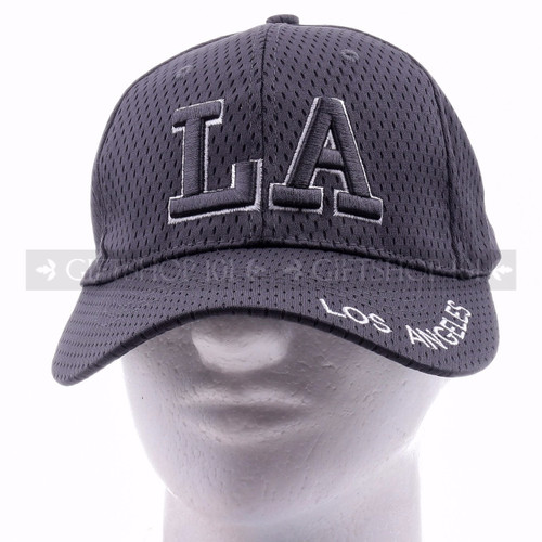 Breathable Baseball Caps Hat 9630 Gray - Los Angeles <Front>