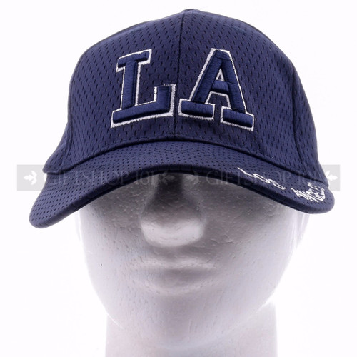 Breathable Baseball Caps Hat 9630 Navy Blue - Los Angeles <Front>