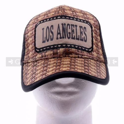 Mesh Back Baseball Caps Hat 10016 Black - Los Angeles <Front>
