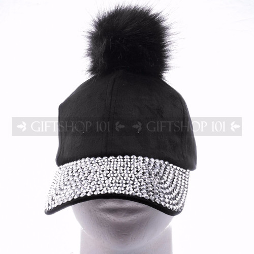 Rhinestone Baseball Caps Hat 38852 - Black Pom <Front>