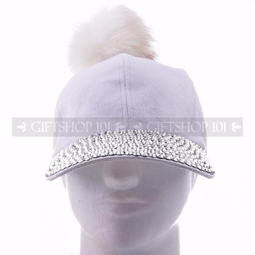 Rhinestone Baseball Caps Hat 38852 - White Pom  <Front>
