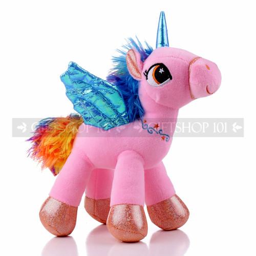 "8"" Pink Magical Flying Unicorn Plush - Right"