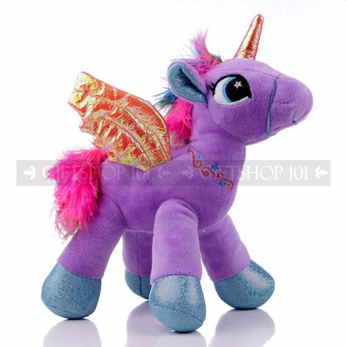 "8"" Purple Magical Flying Unicorn Plush - Left"