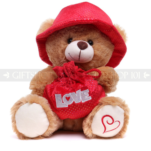 """13.5"""" Brown Teddy Bear with Love Bag & Hat"""