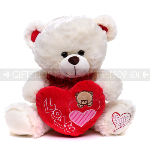 """12"""" Appreciation Teddy Bear with Red Heart- White (Front)"""