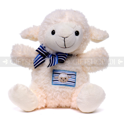 "10"" Soft White Baby Sheep with Blue Ribbon (Front)"