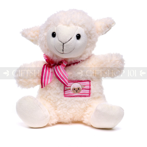 "10"" Soft White Baby Sheep with Pink Ribbon (Front)"