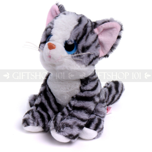 """8"""" Meow Cat with Big Eyes Plush- Striped Grey with Blue Eyes (Front)"""