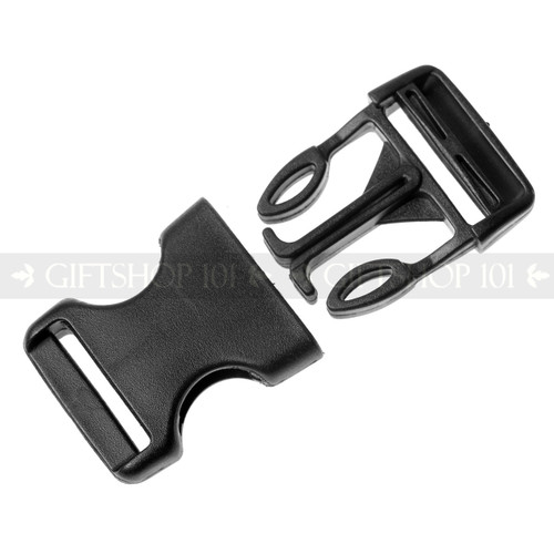 Side Release Buckles w/ Single Adjust - Plastic - 1 inch - Black (10PCS)