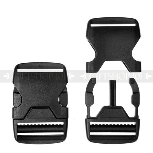 Side Release Buckles w/ Single Adjust - Plastic - 1.5 inch - Black (10PCS)