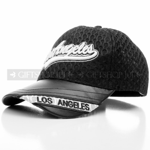 Mesh Black Los Angeles Baseball Cap with Adjustable Straps (Main)