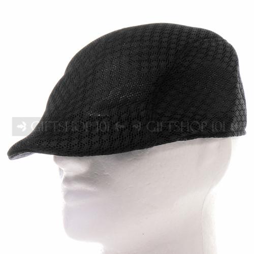 Black Mesh Flat Golfer Cap Sun Hat (Front)