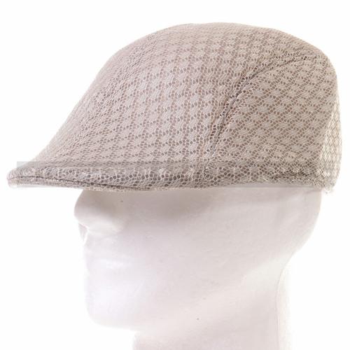 Light Brown Mesh Flat Golfer Cap Sun Hat (Front)