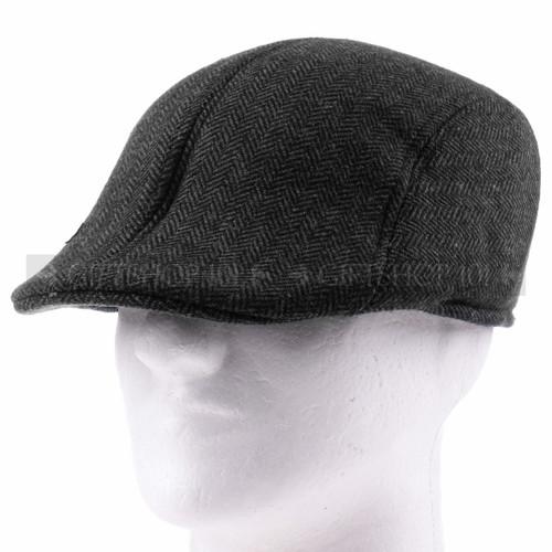 Soft Black Plush Flat Golfer Cap Sun Hat (Front)