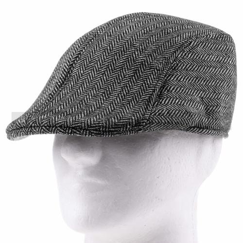 Soft Gray Plush Flat Golfer Cap Sun Hat (Front)