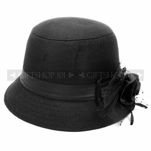 Black Outdoor Summer Flower Women Hat (Close-Up)