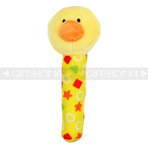 "6"" Yellow Duck Plush Baby Rattle Stick"