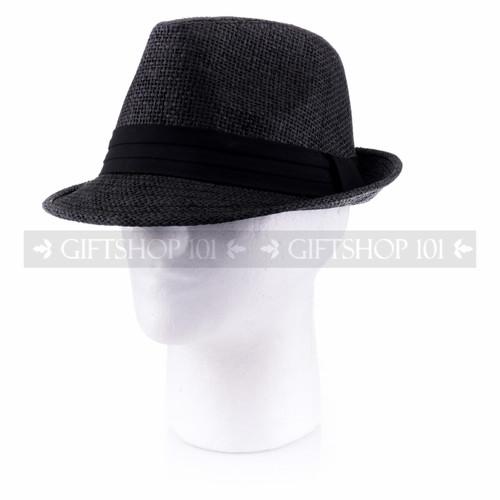 Summer Sun Fedora Hat- Black (Side)